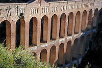 A Roman Aqueduct in Spain. ancient, functional architecture,. Spain.