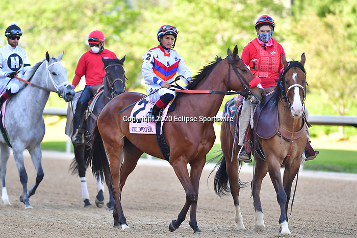 April 18, 2020: Coldwater (2) with jockey Walter De La Cruz aboard during the Apple Blossom Handicap at Oaklawn Racing Casino Resort in Hot Springs, Arkansas on April 18, 2020. Ted McClenning/Eclipse Sportswire/CSM