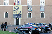 "Attivisti di Greenpeace srotolano uno striscione raffigurante il Presidente del Consiglio Silvio Berlusconi e recante un appello alla partecipazione al referendum contro il nucleare, dal balcone di Palazzo Venezia, Roma, 9 maggio 2011..A banner portraying the Italian Premier Silvio Berlusconi and reading ""I decide for your future"" and ""On nuclear we have to vote"" is unrolled by Greenpeace activists from the balcony of Palazzo Venezia in Rome, 9 may 2011. A referendum on nuclear power in Italy is scheduled for 12 and 13 june..UPDATE IMAGES PRESS/Riccardo De Luca"