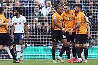 Matt Doherty of Wolverhampton Wanderers celebrates scoring the first Wolves goal during Tottenham Hotspur vs Wolverhampton Wanderers, Premier League Football at Tottenham Hotspur Stadium on 1st March 2020