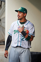 Daytona Tortugas outfielder Sebastian Elizalde (24) collects items thrown to fans that fell into the dugout before a game against the Fort Myers Miracle on June 17, 2015 at Hammond Stadium in Fort Myers, Florida.  Fort Myers defeated Daytona 9-5.  (Mike Janes/Four Seam Images)