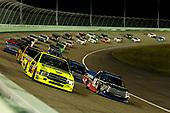 #18: Noah Gragson, Kyle Busch Motorsports, Toyota Tundra Safelite AutoGlass and #88: Matt Crafton, ThorSport Racing, Ford F-150 Ideal Door/Menards restart