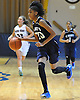 Kadaja Bailey #30 of St. Mary's dribbles downcourt during the CHSAA varsity girls basketball Class A state final against Sacred Heart (Buffalo) at St. John Villa Academy in Staten Island, NY on Saturday, Mar. 12, 2016. Sacred Heart won by a score of 61-53.
