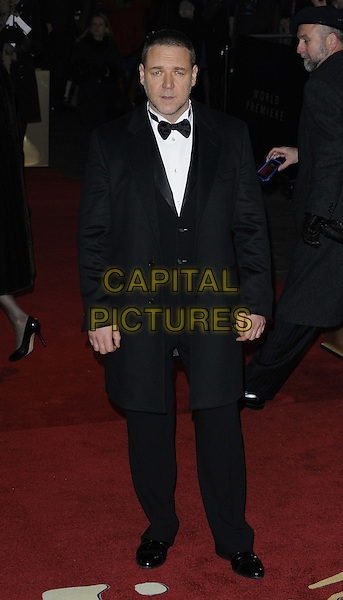 Russell Crowe.attended the 'Les Miserables' UK film premiere, Odeon Leicester Square cinema, Leicester Square, London, England, 5th December 2012..full length black tuxedo tux bow tie suit coat .CAP/CAN.©Can Nguyen/Capital Pictures.