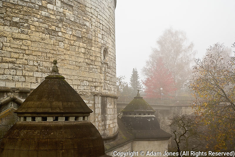 Munot Castle on foggy autumn morning, Schaffhausen, Switzerland
