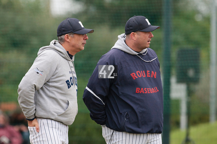 17 October 2010: Assistant coach Francois Colombier talks to Team manager of Rouen Robin Roy during Rouen 10-5 win over Savigny, during game 2 of the French championship finals, in Savigny sur Orge, France.