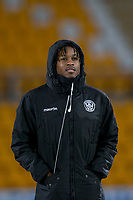 12th February 2020; McDairmid Park, Perth, Perth and Kinross, Scotland; Scottish Premiership Football, St Johnstone versus Motherwell; Ronaldo Aarons of Motherwell inspects the pitch before the match