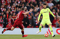 Barcelona's Gerard Pique under pressure from Liverpool's James Milner<br /> <br /> Photographer Rich Linley/CameraSport<br /> <br /> UEFA Champions League Semi-Final 2nd Leg - Liverpool v Barcelona - Tuesday May 7th 2019 - Anfield - Liverpool<br />  <br /> World Copyright © 2018 CameraSport. All rights reserved. 43 Linden Ave. Countesthorpe. Leicester. England. LE8 5PG - Tel: +44 (0) 116 277 4147 - admin@camerasport.com - www.camerasport.com