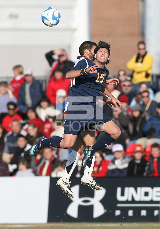 A.J. Soares #`15 of the University of California during an NCAA championship round of sixteen soccer match against the University of Maryland at Ludwig Field, on November 29, 2008 in College Park, Maryland. The match was won by Maryland 2-1