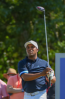 Harold Varner III (USA) watches his tee shot on 18 during Round 2 of the Zurich Classic of New Orl, TPC Louisiana, Avondale, Louisiana, USA. 4/27/2018.<br /> Picture: Golffile | Ken Murray<br /> <br /> <br /> All photo usage must carry mandatory copyright credit (&copy; Golffile | Ken Murray)