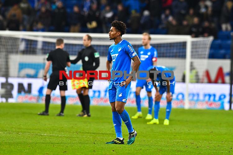 01.12.2018, wirsol Rhein-Neckar-Arena, Sinsheim, GER, 1 FBL, TSG 1899 Hoffenheim vs FC Schalke 04, <br /> <br /> DFL REGULATIONS PROHIBIT ANY USE OF PHOTOGRAPHS AS IMAGE SEQUENCES AND/OR QUASI-VIDEO.<br /> <br /> im Bild: Frust bei Reiss Nelson (TSG Hoffenheim #9)<br /> <br /> Foto © nordphoto / Fabisch