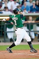 Dayton second baseman Justin Turner (2) follows through on his swing versus Kane County at Fifth Third Field in Dayton, OH, Monday, May 7, 2007.
