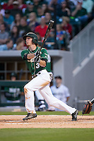 Eric Eason (3) of the Charlotte 49ers follows through on his swing against the North Carolina State Wolfpack at BB&T Ballpark on March 31, 2015 in Charlotte, North Carolina.  The Wolfpack defeated the 49ers 10-6.  (Brian Westerholt/Four Seam Images)