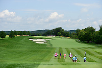 Gerina Piller (USA) and Jennifer Song (USA) head down number 1 during Saturday's third round of the 72nd U.S. Women's Open Championship, at Trump National Golf Club, Bedminster, New Jersey. 7/15/2017.<br /> Picture: Golffile | Ken Murray<br /> <br /> <br /> All photo usage must carry mandatory copyright credit (&copy; Golffile | Ken Murray)