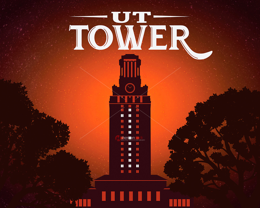This is an original poster print of the University of Texas Tower lit with No. 1 to celebrate UT National Championship.<br /> <br /> The Main Building or also known as the UT Tower is a tall vertical structure at the center of the University of Texas at Austin campus in Downtown Austin, Texas. The Main Building's 307-foot (94 m) tower has 27 floors and is one of the most recognizable symbols of the university and the city of Austin.
