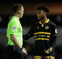 Newport County's Antoine Semenyo speaks to Referee Thomas Bramall<br /> <br /> Photographer Chris Vaughan/CameraSport<br /> <br /> The EFL Sky Bet League Two - Lincoln City v Newport County - Saturday 22nd December 201 - Sincil Bank - Lincoln<br /> <br /> World Copyright © 2018 CameraSport. All rights reserved. 43 Linden Ave. Countesthorpe. Leicester. England. LE8 5PG - Tel: +44 (0) 116 277 4147 - admin@camerasport.com - www.camerasport.com
