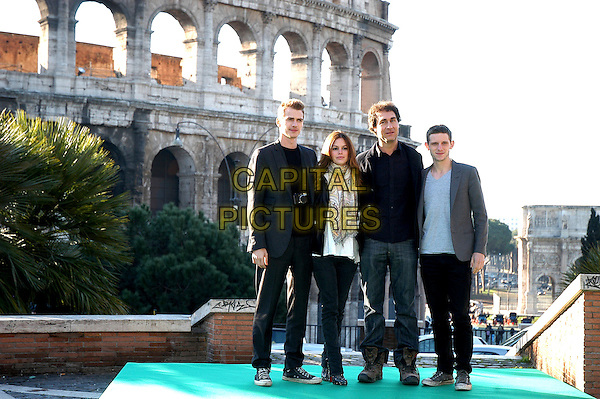 "HAYDEN CHRISTENSEN, RACHEL BILSON, DOUG LIMAN & JAMIE BELL.Photocall for ""Jumper"", Rome, Italy..February 6th, 2008.full length black jacket pattern print scarf jeans denim grey gray.CAP/CAV.©Luca Cavallari/Capital Pictures."