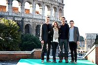 "HAYDEN CHRISTENSEN, RACHEL BILSON, DOUG LIMAN & JAMIE BELL.Photocall for ""Jumper"", Rome, Italy..February 6th, 2008.full length black jacket pattern print scarf jeans denim grey gray.CAP/CAV.©Luca Cavallari/Capital Pictures."