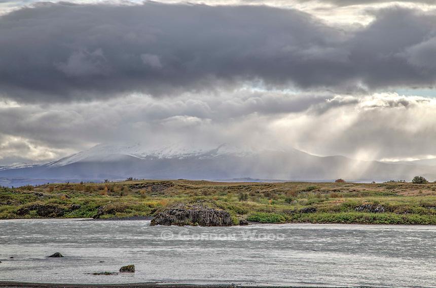 Mount Hekla Volcano from Pjorsa River