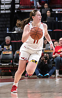 COLLEGE PARK, MD - DECEMBER 28: Taylor Mikesell #11 of Maryland on the attack. during a game between University of Michigan and University of Maryland at Xfinity Center on December 28, 2019 in College Park, Maryland.