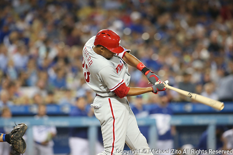 August 9, 2016 Los Angeles, CA: Philadelphia Phillies right fielder Aaron Altherr #23 during a MLB game between the Los Angeles Dodgers and the Philadelphia Phillies played at Dodger Stadium.