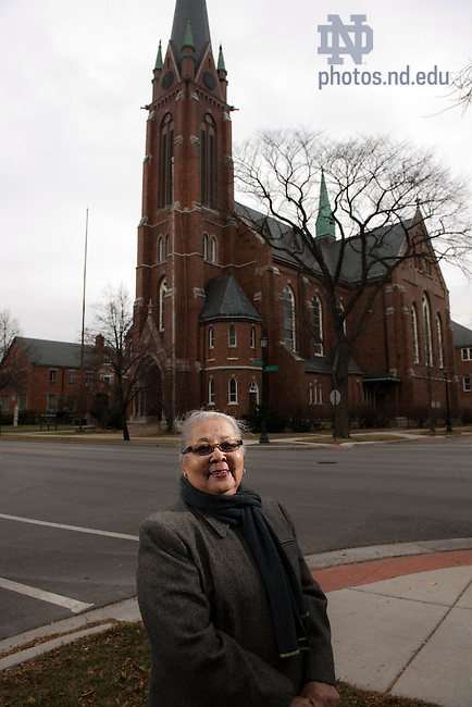 Nov. 29, 2010; Margo Butler, photographed outside St. Nicholas Catholic Chuch in Evanston, Ill.  For Notre Dame Magazine..Photo by Matt Cashore/University of Notre Dame