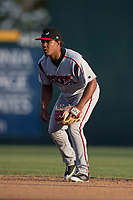 Lake Elsinore Storm second baseman Eguy Rosario (1) during a California League game against the Modesto Nuts at John Thurman Field on May 11, 2018 in Modesto, California. Modesto defeated Lake Elsinore 3-1. (Zachary Lucy/Four Seam Images)