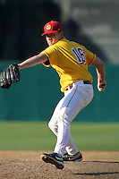 Chad Smith, #16, of the USC Trojans pitches against the North Carolina Tar Heels at Dedeaux Field on February 20, 2011 in Los Angeles,California. Photo by Larry Goren/Four Seam Images