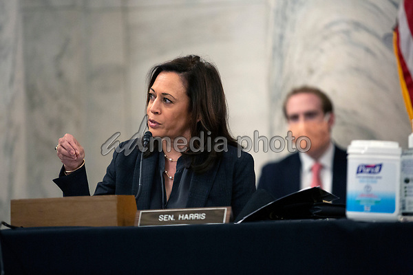 United States Senator Kamala Harris (Democrat of California) speaks during a U.S. Senate Committee on Homeland Security and Governmental Affairs meeting in the Senate Russell Office Building in Washington D.C., U.S., on Wednesday, May 20, 2020, to consider a motion to issue a subpoena to Blue Star Strategies.  Credit: Stefani Reynolds / CNP/AdMedia