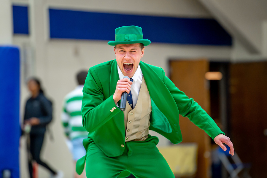 April 12, 2019; Conal Fagan hypes up the audience. Each Leprechaun contestant was asked to lead a pep rally. The other contestants were sequestered in the dressing room as each took his or her turn. (Photo by Matt Cashore/University of Notre Dame)