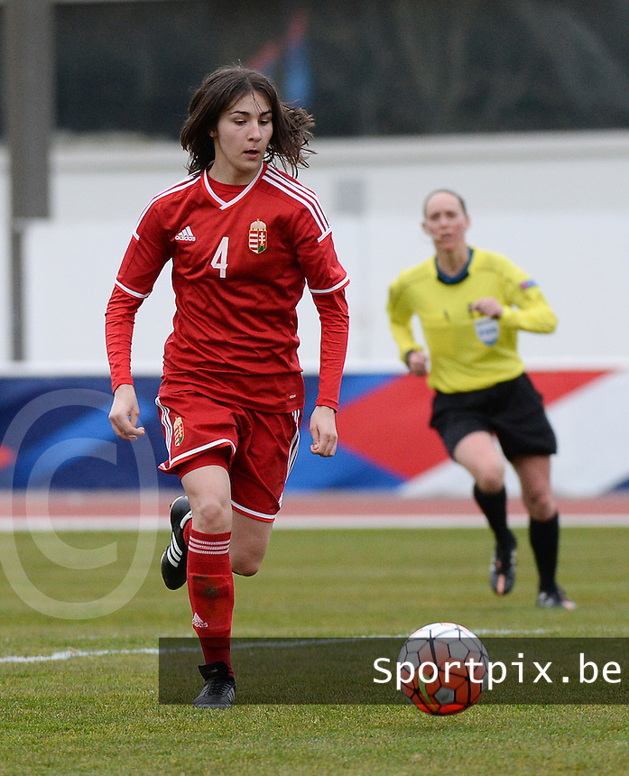 20160319 - BAYEUX , FRANCE : Hungarian Laura Kovacs pictured during the soccer match between the women under 17 teams of The Republic of Ireland and Hungary , on the first matchday in group 3 of the UEFA Women Under17 Elite rounds at Stade Henry Jeanne in Bayeux , France . Saturday 19th March 2016 . PHOTO DIRK VUYLSTEKE
