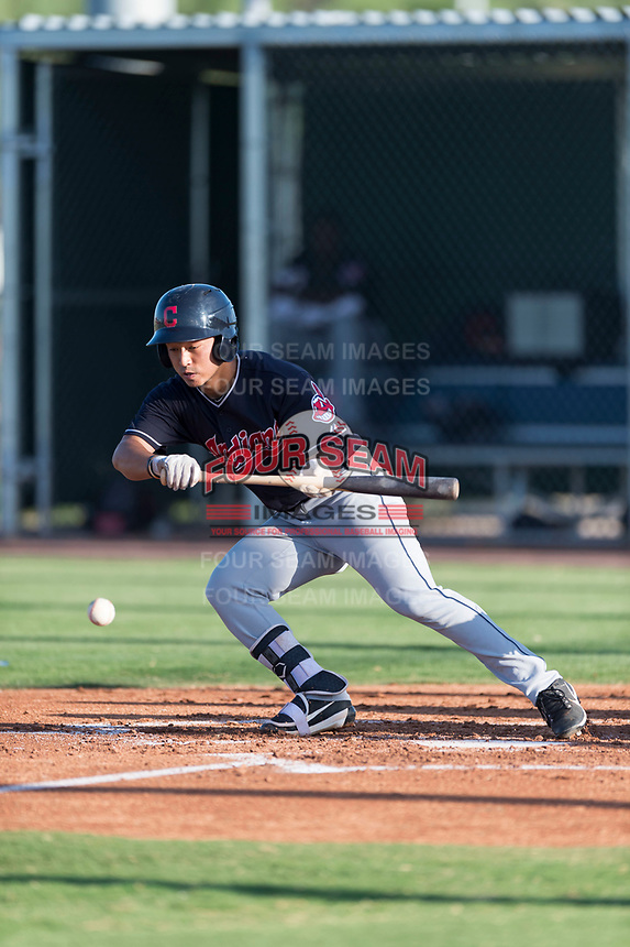 AZL Indians 1 center fielder Steven Kwan (7) bunts during an Arizona League game against the AZL Cubs 1 at Sloan Park on August 27, 2018 in Mesa, Arizona. The AZL Cubs 1 defeated the AZL Indians 1 by a score of 3-2. (Zachary Lucy/Four Seam Images)