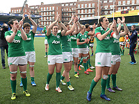 Ireland ladies thank the crowd at the final whistle <br /> <br /> Photographer Ian Cook/CameraSport<br /> <br /> Women's Six Nations Round 4 - Wales Women v Ireland Women - Saturday 11th March 2017 - Cardiff Arms Park - Cardiff<br /> <br /> World Copyright &copy; 2017 CameraSport. All rights reserved. 43 Linden Ave. Countesthorpe. Leicester. England. LE8 5PG - Tel: +44 (0) 116 277 4147 - admin@camerasport.com - www.camerasport.com