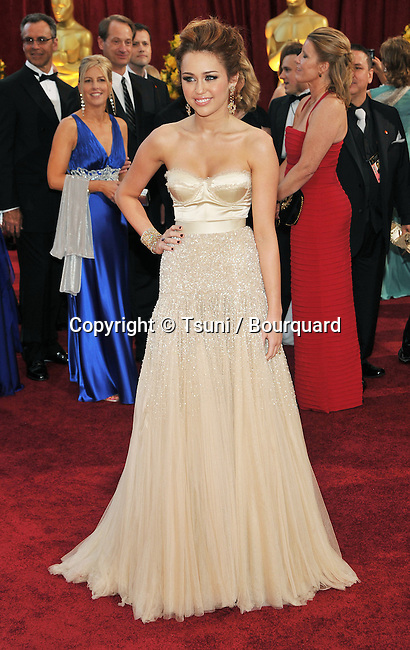 Milley Cyrus _341   -<br /> 82nd Academy Awards arrival at the Kodak Theatre In Los Angeles.