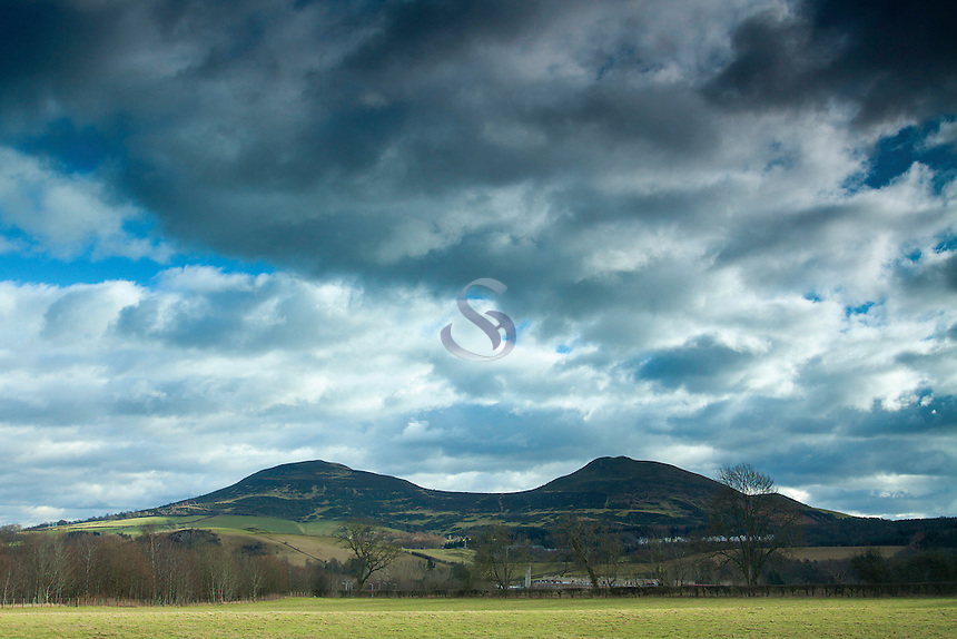 The Eildon Hills from Darnick near Melrose, Scottish Borders