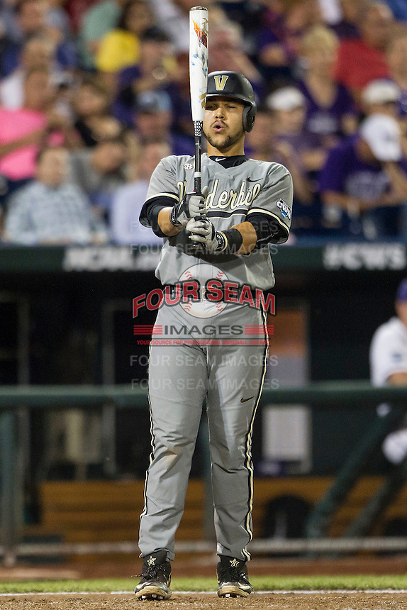 Vanderbilt Commodores first baseman Zander Wiel (43) at the plate during the NCAA College baseball World Series against the TCU Horned Frogs on June 16, 2015 at TD Ameritrade Park in Omaha, Nebraska. Vanderbilt defeated TCU 1-0. (Andrew Woolley/Four Seam Images)
