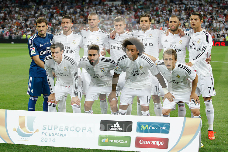 Real Madrid´s initial players during 2014 Supercopa de España `Spain Supercup´ at Santiago Bernabeu stadium. August 19, 2014. (ALTERPHOTOS/Victor Blanco)