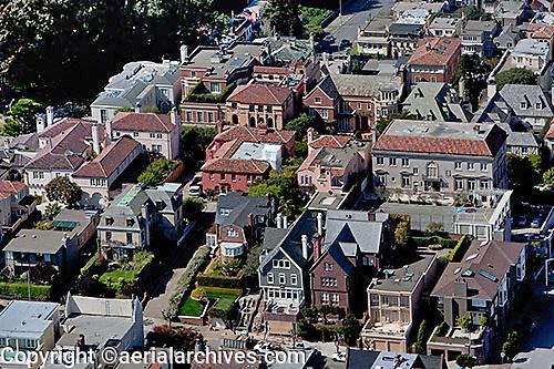 aerial photograph Pacific Heights residential neighborhood San Francisco California