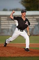 Tyler Schimpf (40) of the Salem-Keizer Volcanoes pitches against the Eugene Emeralds at Volcanoes Stadium on July 24, 2017 in Keizer, Oregon. Eugene defeated Salem-Keizer, 7-6. (Larry Goren/Four Seam Images)