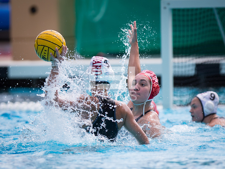 STANFORD, CA - March 23, 2019: Chloe Harbilas at Avery Aquatic Center. The #2 Stanford Cardinal took down the #18 Harvard Crimson 20-7.