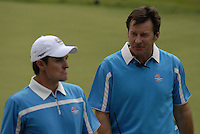 European Team player Justin Rose and Captain Nick Faldo after winning the match on the 15th green during the Morning Foursomes on Day 2 of the Ryder Cup at Valhalla Golf Club, Louisville, Kentucky, USA, 20th September 2008 (Photo by Eoin Clarke/GOLFFILE)