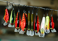 Photos of Phil Hunt and PH Custom Lures in Connersville, Indiana, Thursday, March 21, 2019. Hunt is a leader in the balsa bait fishing industry making handmade lures since 2006.<br /> <br /> Photo by Matt Nager