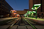 "The Light Rail, in uptown Charlotte NC. the ""CATS"" line short for The Charlotte Area Transit System, is lined with fantastic public art."