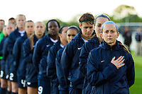Sky Blue FC midfielder Manya Makoski (22) and the rest of the Sky Blue FC starting XI during the playing of the national anthem. Sky Blue FC and the Chicago Red Stars played to a 1-1 tie during a National Women's Soccer League (NWSL) match at Yurcak Field in Piscataway, NJ, on May 8, 2013.