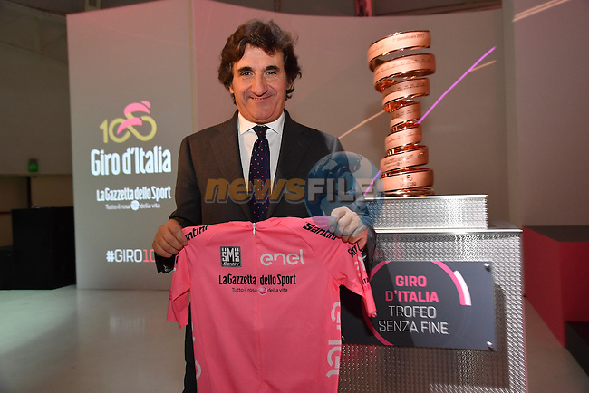 RCS MediaGroup Chairman and CEO Urbano Cairo at the 100th edition Giro d`Italia 2017 route presentation held at the Ice Palace in Milan, 25th October 2016.<br /> Picture: ANSA/Luca Zennaro   Newsfile<br /> <br /> <br /> All photos usage must carry mandatory copyright credit (&copy; Newsfile   ANSA/Luca Zennaro)