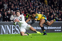 Jonny May of England crosses the try-line but the score is later ruled out. Quilter International match between England and Australia on November 24, 2018 at Twickenham Stadium in London, England. Photo by: Patrick Khachfe / Onside Images