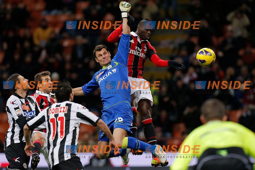 "Mbaye Niang Milan, Daniele Padelli Udinese, Milano 3/2/2013 .Stadio ""S.Siro"".Football Calcio 2012/2013 Serie A.Milan Vs Udinese.Foto Marco Bertorello Insidefoto"