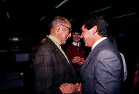 File Photo - Pierre Danserau (L) and Montreal Mayor Jean Dore in  the eighties.<br /> <br /> Dore has been told he as a terminal pancreas cancer and 3 weeks to live , this September 2014.<br /> <br /> File Photo : Agence Quebec Pressse  - Pierre Roussel