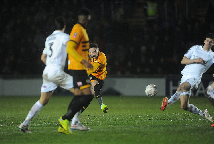 Newport County's Robbie Willmott scores his side's first goal   <br /> <br /> Photographer Ian Cook/CameraSport<br /> <br /> Emirates FA Cup Fourth Round Replay - Newport County v Middlesbrough - Tuesday 5th February 2019 - Rodney Parade - Newport<br />  <br /> World Copyright &copy; 2019 CameraSport. All rights reserved. 43 Linden Ave. Countesthorpe. Leicester. England. LE8 5PG - Tel: +44 (0) 116 277 4147 - admin@camerasport.com - www.camerasport.com