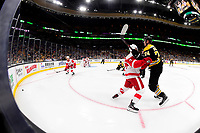 September 26, 2018: Detroit Red Wings defenseman Joe Hicketts (2) keeps Boston Bruins left wing Jake DeBrusk (74) off the puck during the NHL pre-season game between the Detroit Red Wings and the Boston Bruins held at TD Garden, in Boston, Mass. Detroit defeats Boston 3-2 in overtime. Eric Canha/CSM